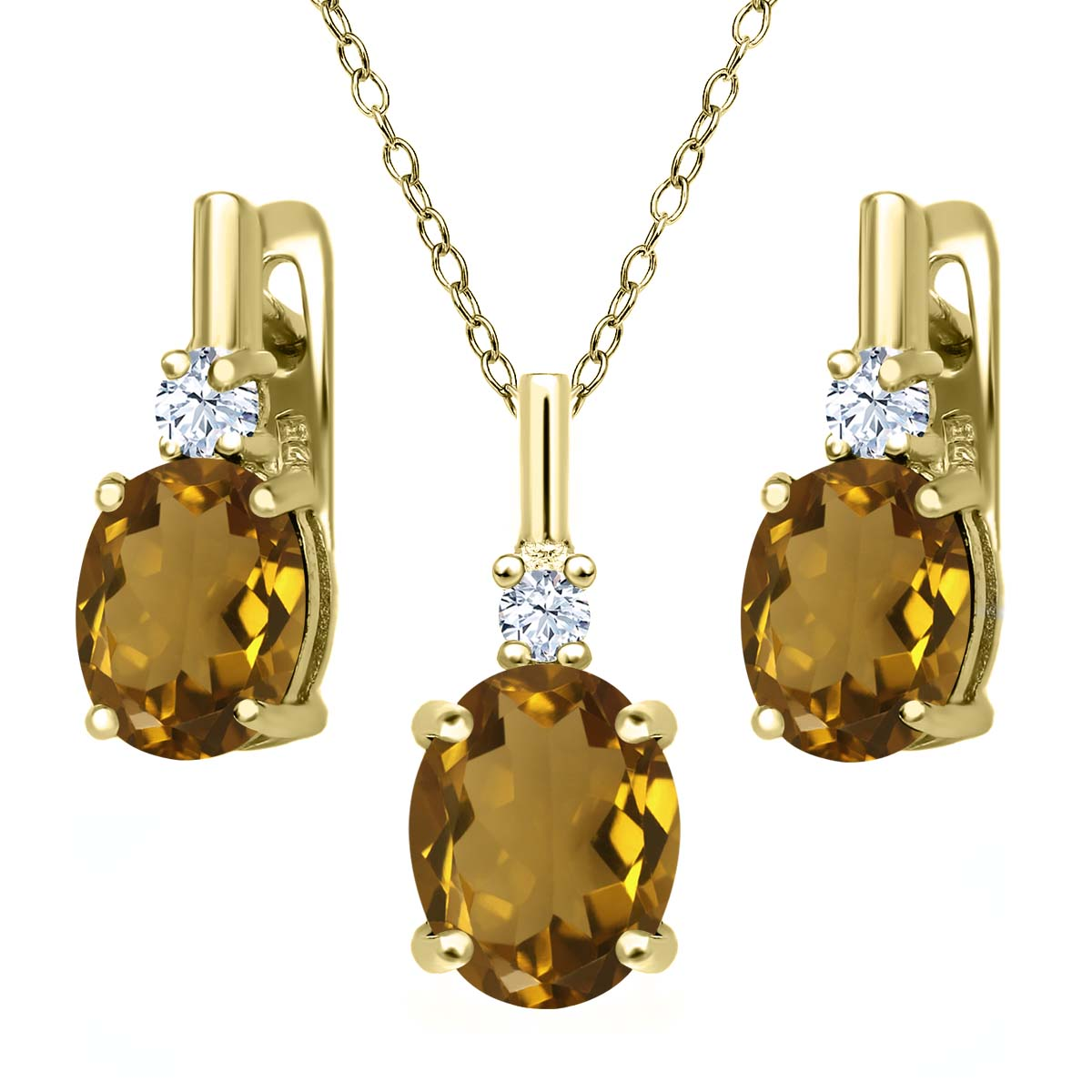 4.85 Ct Whiskey Quartz 18K Yellow Gold Plated Silver Pendant Earrings Set by