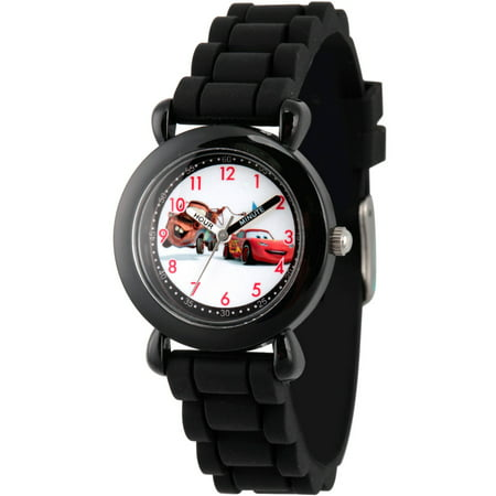 Cars Mater and Lightning McQueen Boys' Black Plastic Time Teacher Watch, Black Silicon