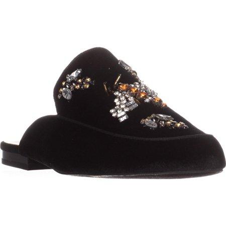 Womens I35 Gannie5 Jeweled Slide Loafers, Black Bug