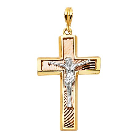FB Jewels 14K White Yellow And Rose Tri Color Gold Christian Crucifix Cross Pendant 32mm X -
