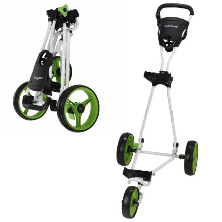 Golf Push Cart (Caddymatic Golf Continental 3 Wheel Folding Golf Push/Pull Cart White/Green )