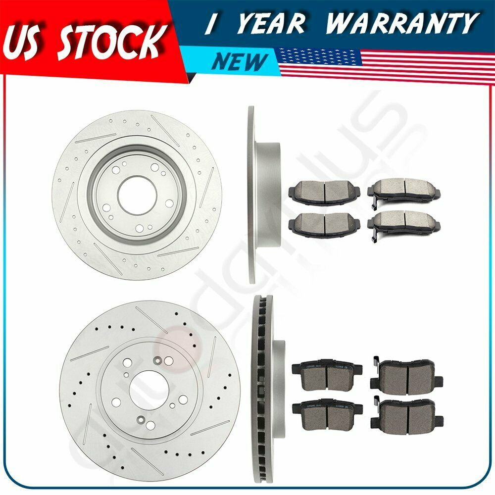 Front Rear Brake Rotors Ceramic Pads Drill Fits 10 Acura
