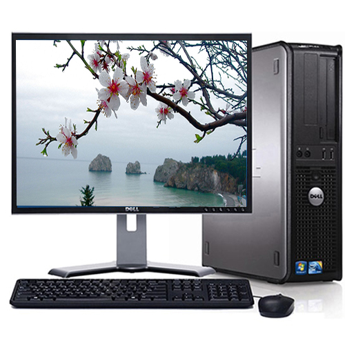 """Dell Optiplex Desktop PC Computer System Windows 10 Dual Core 4GB 1TB with a 19"""" LCD Monitor-Refurbished Computer"""