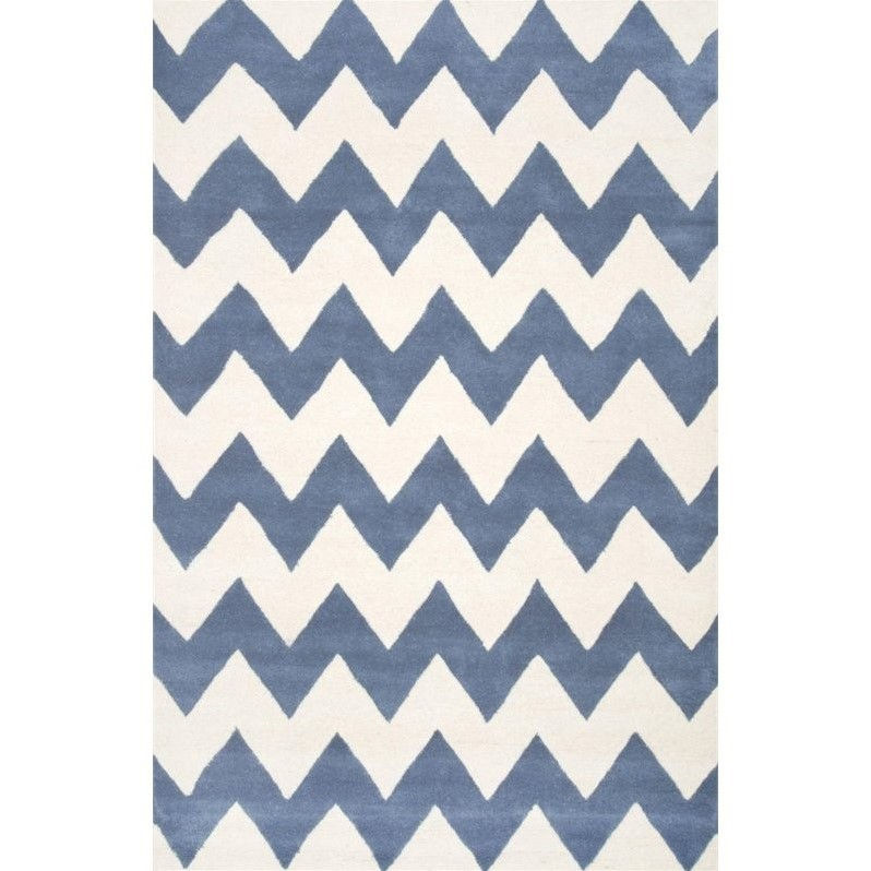 Nuloom 2' 6 x 8' Hand Tufted Cassidy Chevron Rug in Blue