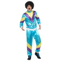 "40"" Blue and Purple 1980's Style Shell Suite Men Halloween Costume - Large"