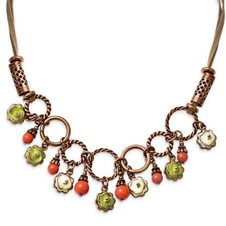 Copper-tone Green Enamel, Orange Beads 16