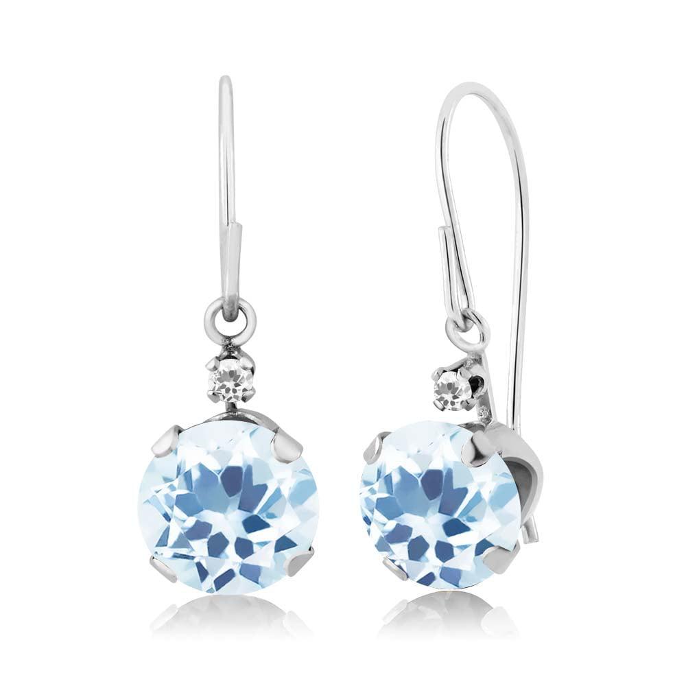 2.41 Ct Round Sky Blue Topaz White Sapphire 14K White Gold Earrings