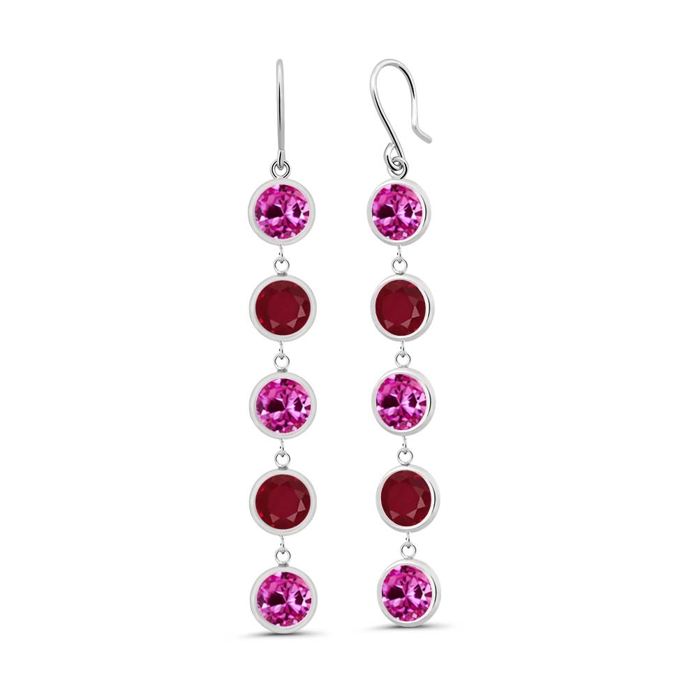 5.00 Ct Round Pink Created Sapphire Red Ruby 925 Sterling Silver Earrings by