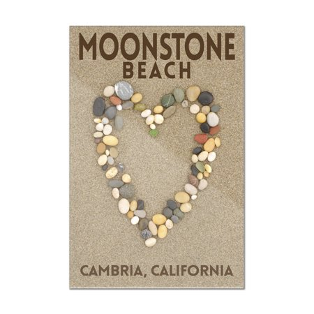 Cambria, California - Moonstone Beach - Stone Heart on Sand (dark) - Lantern Press Photography (8x12 Acrylic Wall Art Gallery Quality)