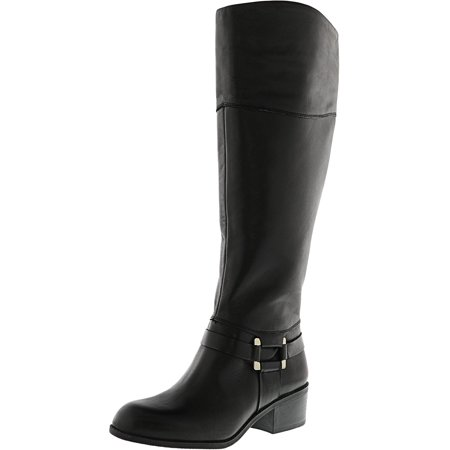 Women's Biliee Wide Calf Black Knee-High Leather Equestrian Boot - 5M