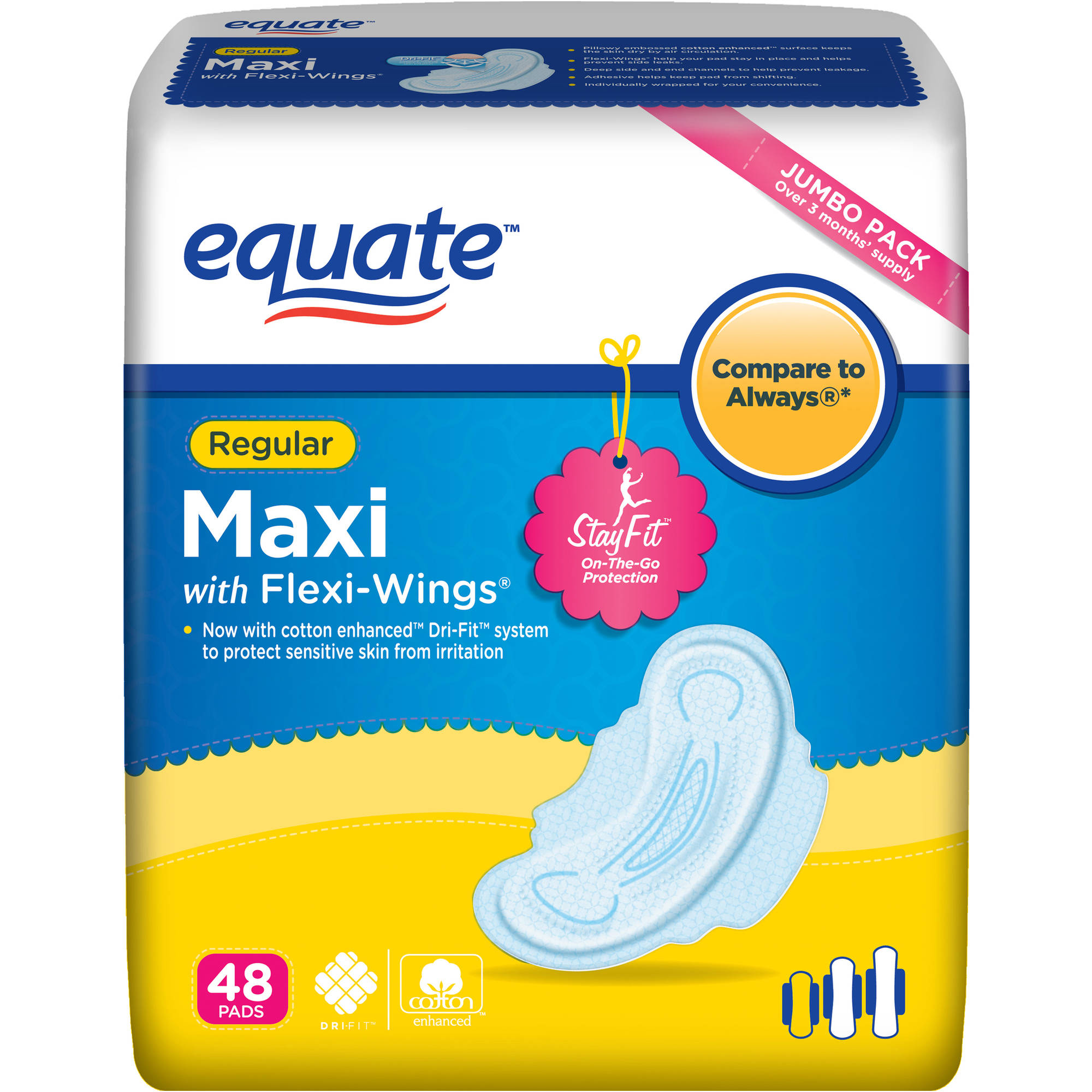 Equate Maxi Pads Regular with Wings, 48 count