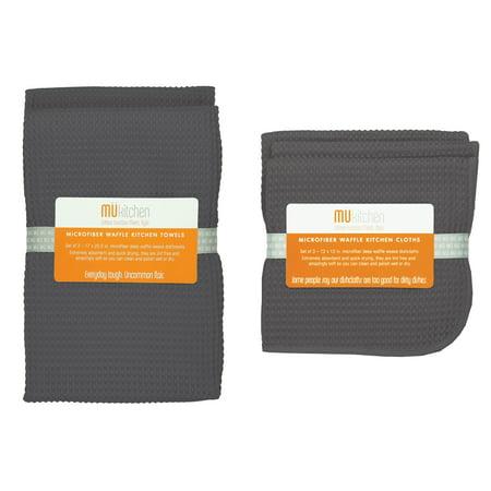 MÜkitchen Waffle Microfiber Cloth & Towel - Cadet Gray 5-Piece Set