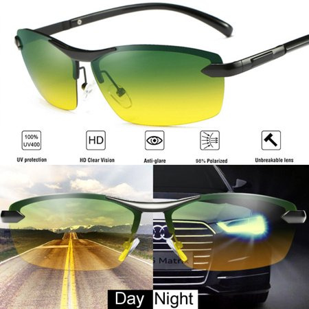 Men's Polarized Sunglasses for Driving Fishing Golf Metal Frame UV400 Day Night Vision Reduce Eye