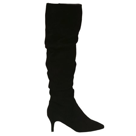 Unilady Adult Black Pointy Toe Ruched Low Heeled Tall - Tall Black Boots