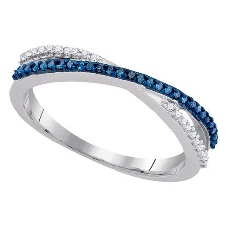 - 10kt White Gold Womens Round Blue Color Enhanced Diamond Slender Crossover Band 1/6 Cttw