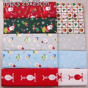 10pcs Christmas Cotton Festive Fabric Patchwork Cloth DIY Craft Sewing
