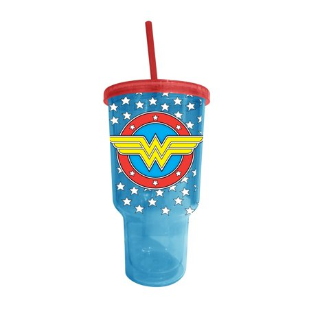 DC Comics WW0517 Wonder Woman Logo Jumbo Big Gulp Cold Cup with Lid and Straw, 32 oz, Multicolor