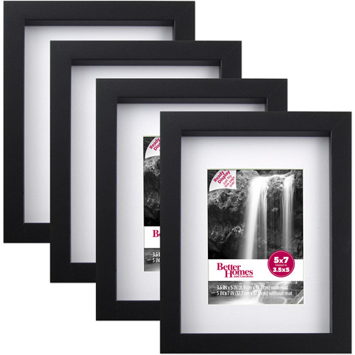 "Better Homes and Gardens Gallery 5"" x 7"" Picture Frame, Black, Set of 4"
