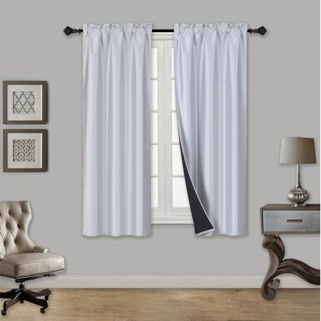 "TOM SILVER 1-Piece 100% Blackout Room Darkening Rod Pocket Solid Window Curtain Panel with Black Lined Backing 35"" x 63"""