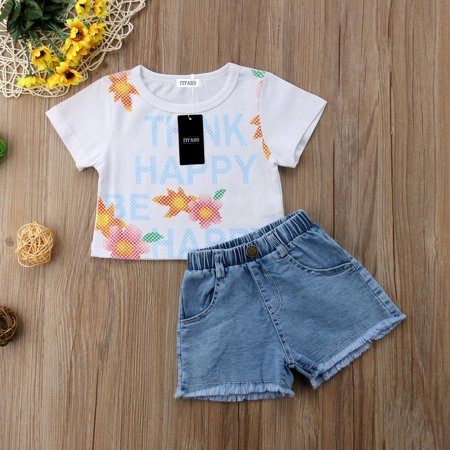 4152404dcbd Emmababy - Summer Toddler Kids Baby Girl Letter Printed Outfits Clothes T-shirt  Tops+Pants Denim Shorts 2PCS Set - Walmart.com