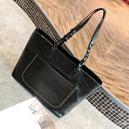 Fashion Women Handbag Tassel Zipper Closure PU Leather Straps Vintage Tote Shoulder Bag - image 1 de 7