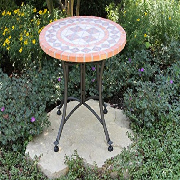 Outdoor Interiors Terra Cotta Mosaic Accent Table with Metal Base