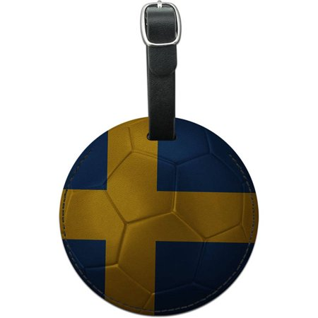 Sweden Flag Soccer Ball Futbol Football Round Leather Luggage ID Tag Suitcase](Zoe Ball In Leather)