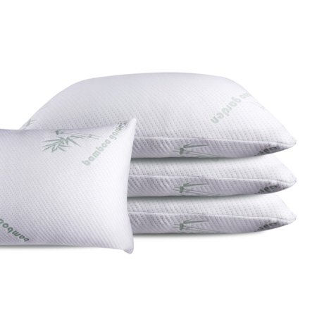 Queen Bamboo Memory Foam Bed Pillow, MADE IN USA 100% Certi-Pur Certified Helps Breathing and Reduces