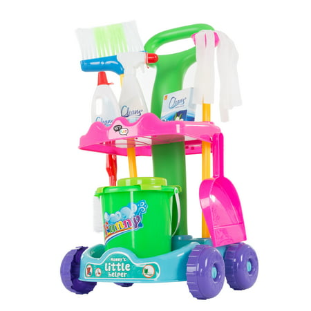 Toy Cleaning Set – Play Housekeeping and Janitor Accessories Cart – Pretend Broom, Mop and Dustpan for Children and Toddlers Tidy-Up Fun by Hey! Play!