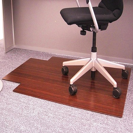 Anji Mountain Bamboo 36 x 48 Chair Mat for Carpet and Hard Floor, Rectangular with Lip, Cherry