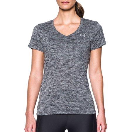 Under Armour Women's Twisted Tech V-Neck Shirt, Black, XL