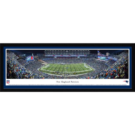 Gillette Stadium Framed - New England Patriots - 50 Yard Line at Gillette Stadium - Blakeway Panoramas NFL Print with Select Frame and Single Mat