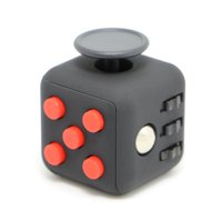 Novelty Place [Stress Relief] Fidget Cube - Boost Focus & Attention - 6 Various Features - Relieves Stress Anxiety ADHD - EDC Toy for Children and Adults - ABS Block 1.4 inch - Black and Red