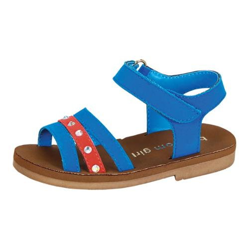 Girls Blue Suede Glitter Rhinestone Velcro Strap Sandals 4 Baby-10 Toddler