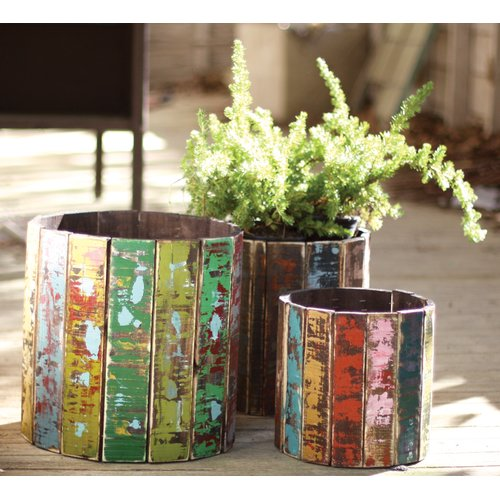Kalalou Round Recycled Colorful Wooden 3 Piece Pot Planter Set