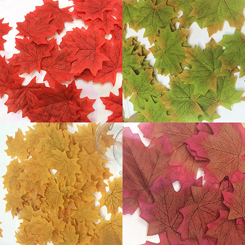 Girl12Queen 100 Pcs Fall Fake Silk Leaves Wedding Favor Autumn Maple Leaf Wedding Decoration