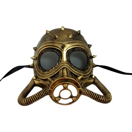 Chemical Gas Steampunk Skull Brushed Gold Halloween Mask