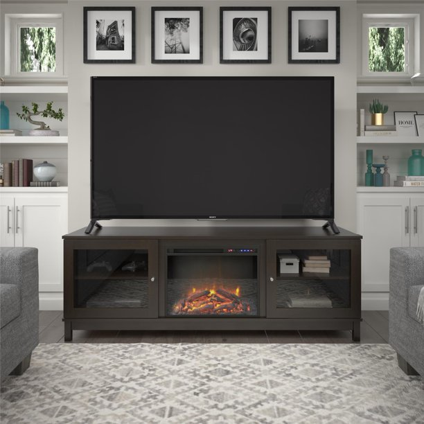 "Ameriwood Home Swanson Fireplace TV Stand for TVs up to 70"", Espresso"
