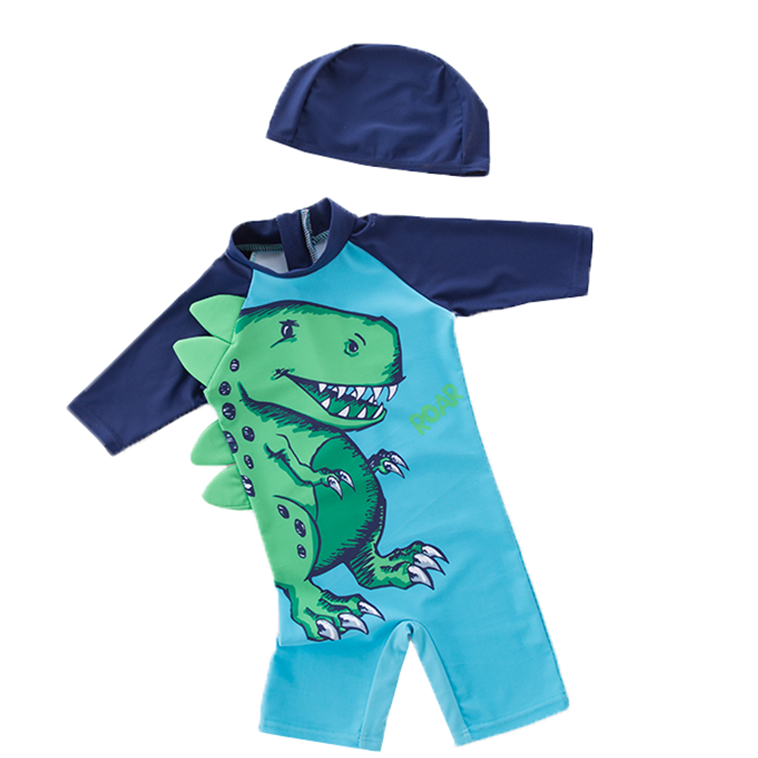 Kid Little Boy Funny Dinosaur Two Pieces Swimsuit Set with Swimming Cap