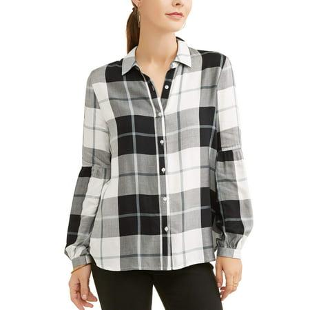 - Women's Plaid Bubble Sleeve Shirt