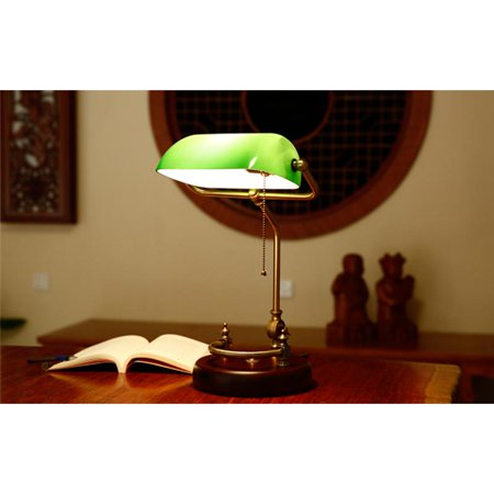 Retro Lamp, Antique Style Desk Light Emerald Green Glass Shade with Retro Brass Base for Living Room, Bedroom, Study