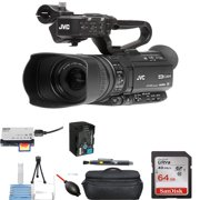 JVC GY-HM250 UHD 4K Streaming Camcorder with Built-in Lower-Thirds Graphics Starter Bundle
