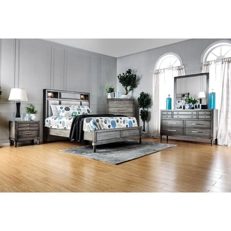 Transitional design 4pc set queen size bed gray color - Transitional style bedroom furniture ...