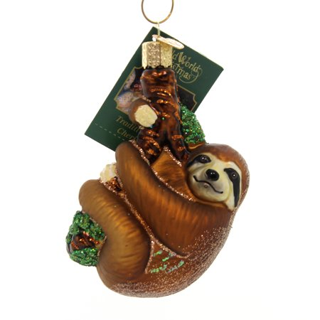 Old World Christmas SLOTH Glass Ornament Tree-Hugger 12523