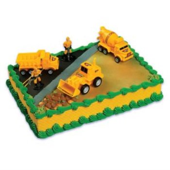 a birthday place construction scene cake topper kit - Birthday Cake Kits