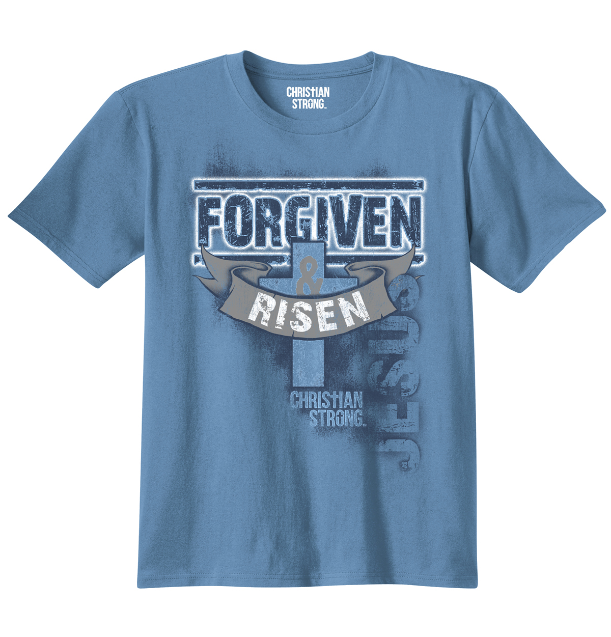 Christian T Shirt Forgiven And Risen Cross Jesus Christ Faith Religious Tee by Christian Strong