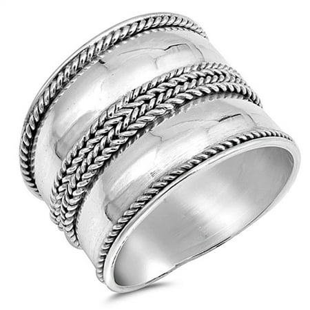 Wide Bali Rope Design Ring New .925 Sterling Silver Thin Band Size 10 Sterling Silver Bali Design