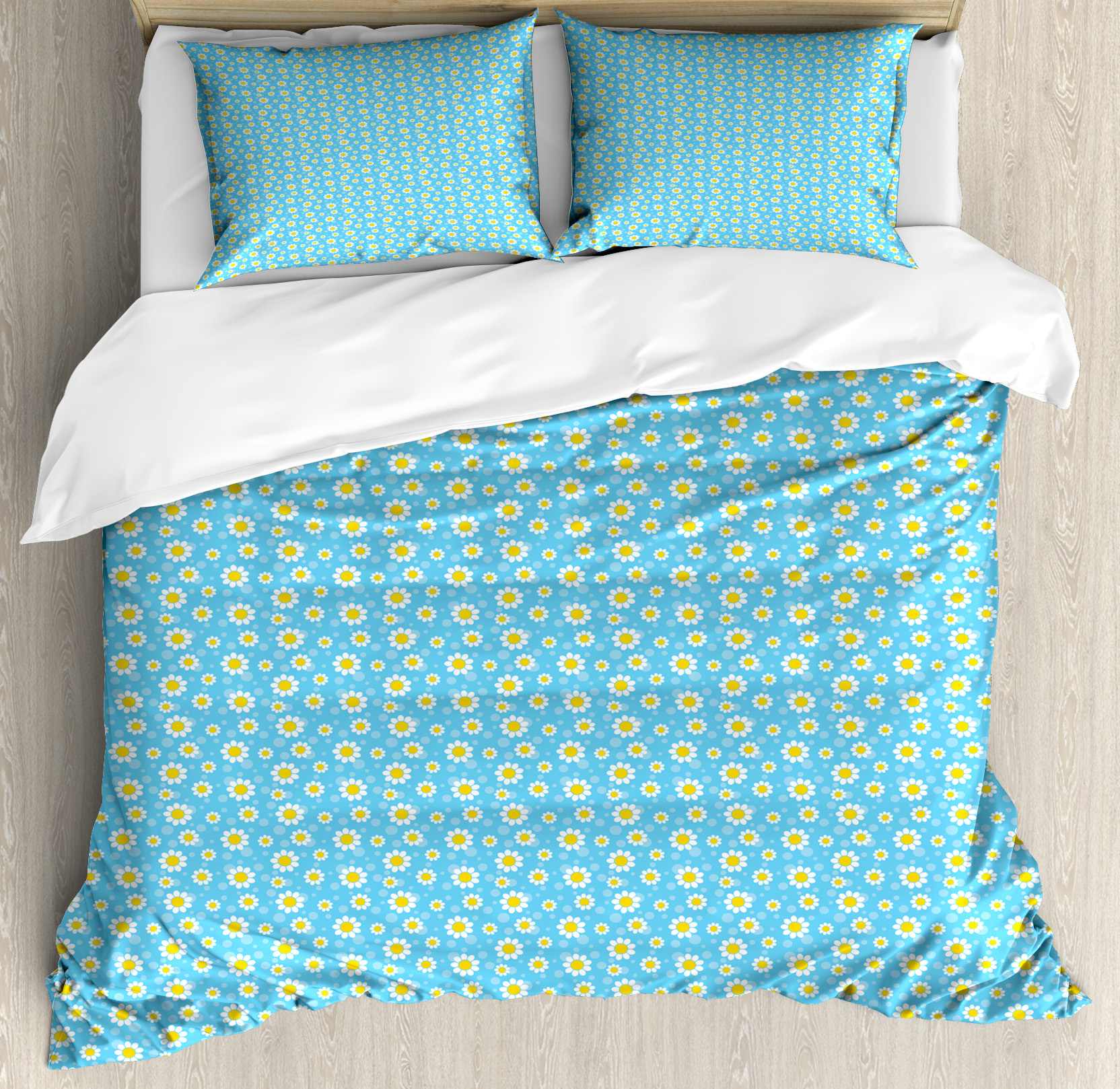 Yellow And Blue Queen Size Duvet Cover Set Cartoon
