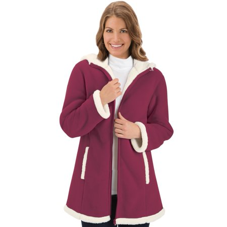 Girls Sherpa Lined Jacket (Women's Polar Fleece Sherpa Lined Zip Up Coat Misses Black Cherry Small, Small, Black)
