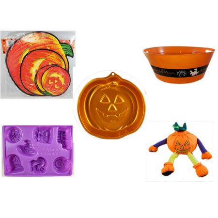 Halloween Fun Gift Bundle [5 Piece] - Classic Pumpkin Cutouts Set of 9 - 17.75 Inch Orange